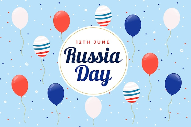 Russia day and balloons with flag background