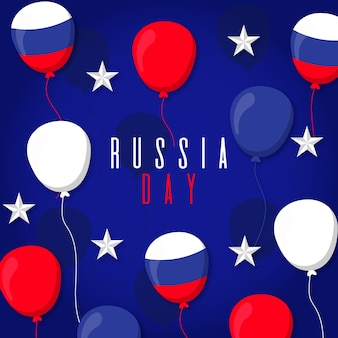 ロシアの日お祝いフラットデザイン