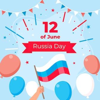Концепция дня россии в плоском дизайне