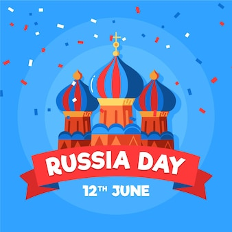 Россия день плоский дизайн фона