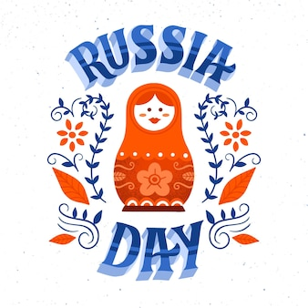 Russia day lettering concept