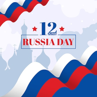 Russia day with flag and stars Free Vector