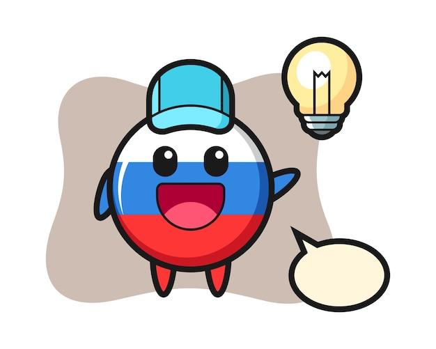 러시아 국기 배지 캐릭터 만화 아이디어, 귀여운 스타일 디자인