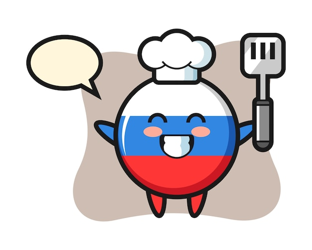 요리사로 러시아 국기 배지 문자 그림은 요리, 귀여운 스타일 디자인입니다