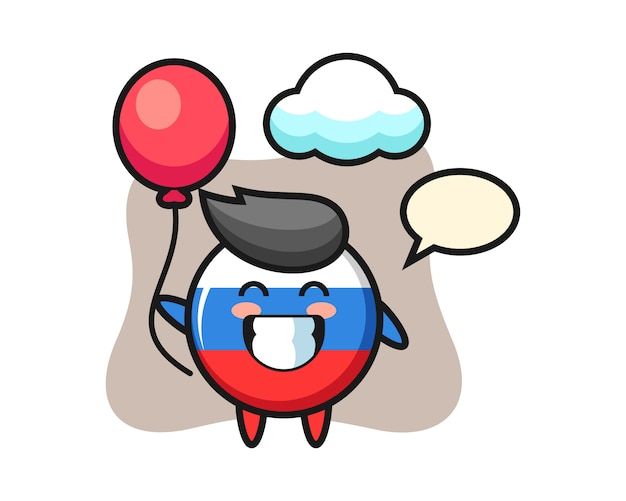 Russia flag badge mascot illustration is playing balloon, cute style design
