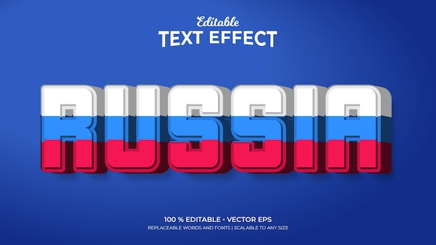 Russia flag color editable text effects