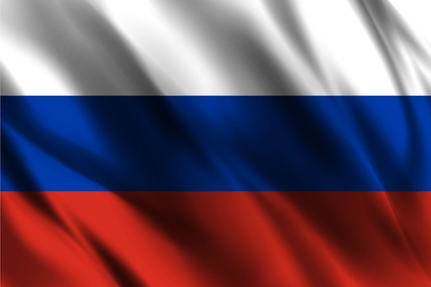 Russia flag floating silk background
