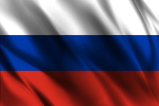 실크 배경 떠있는 러시아 국기