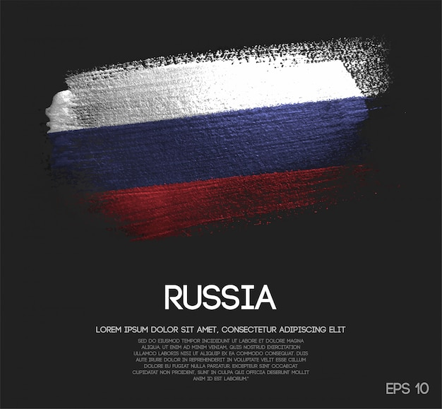 Russia flag made of glitter sparkle brush paint