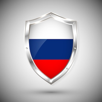 Russia flag on metal shiny shield . collection of flags on shield against white background. abstract isolated object.