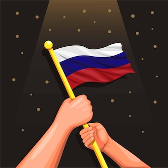 漫画のロシア独立日6月のコンセプトのための手持ちのお祝いのロシアの旗