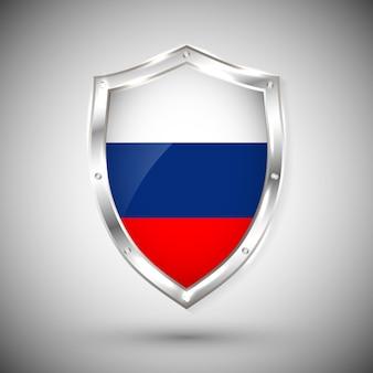 金属の光沢のある盾のロシア国旗。白い背景の上の盾の旗のコレクション。抽象分離オブジェクト。