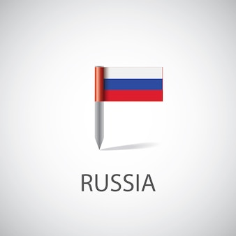 Булавка флаг россии, изолированные на светлом фоне