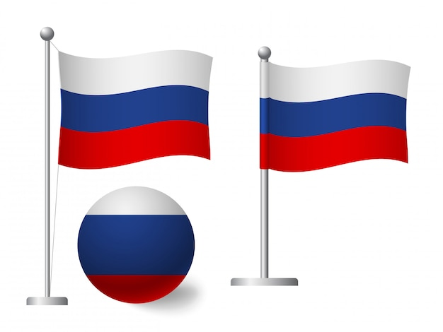 Russia flag on pole and ball icon