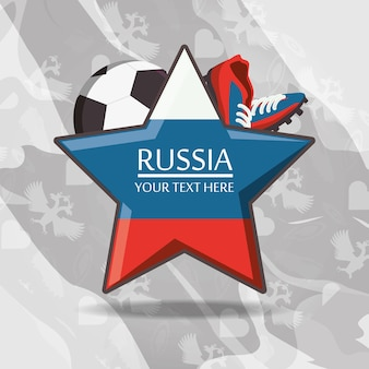 Russia flag in star shape and football related icons