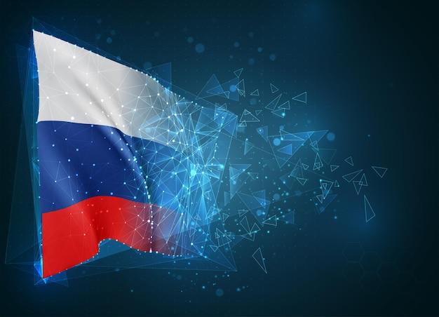 Россия, флаг, виртуальный абстрактный 3d-объект из треугольных многоугольников на синем фоне