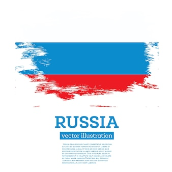 Russia flag with brush strokes. vector illustration.