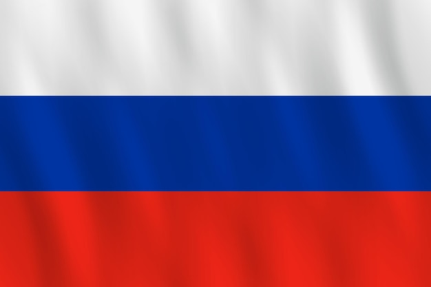 Russia flag with waving effect, official proportion.