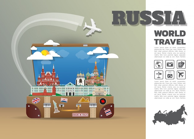 Russia landmark global travel and journey infographic luggage. design  template./illustration.