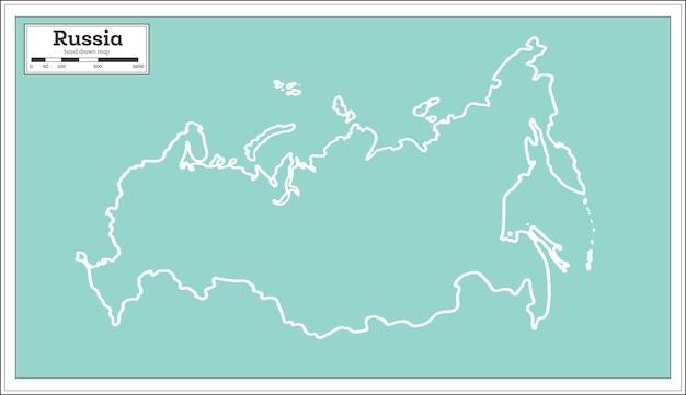 Карта россии в стиле ретро. контурная карта. векторные иллюстрации.