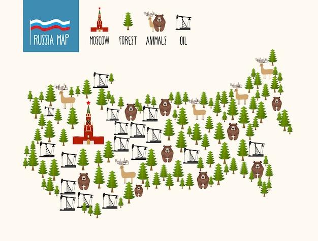Карта россии. инфографика российской федерации. минералы нефти и леса. московский кремль и медведи.
