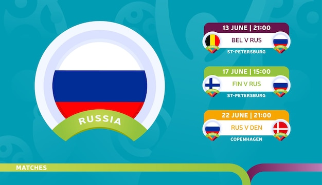Russia national team schedule matches in the final stage at the 2020 football championship.   illustration of football 2020 matches.