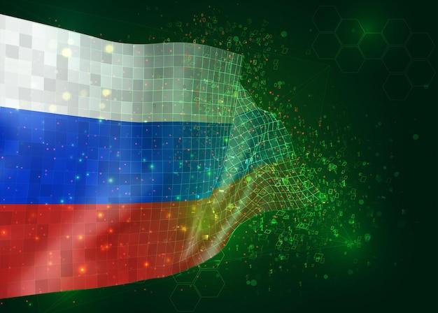 Россия, на вектор 3d флаг на зеленом фоне с многоугольниками и номерами данных