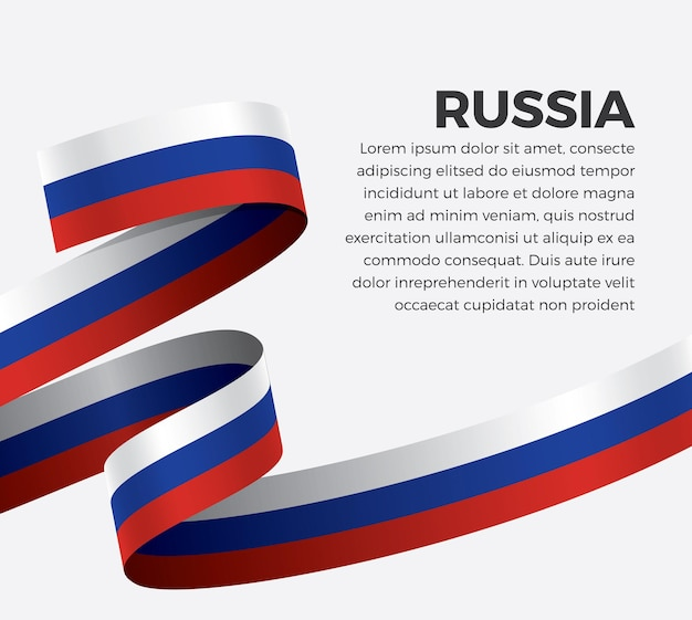 Russia ribbon flag, vector illustration on a white background
