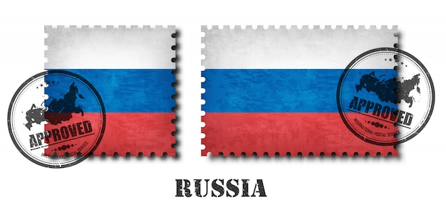 Russia or russian flag pattern postage stamp