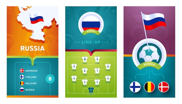Russia team european   football vertical banner set for social media. russia group b banner with isometric map, pin flag, match schedule and line-up on soccer field