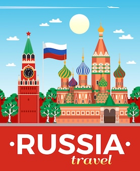 Russia travel agency advertising flat composition poster with national flag kremlin saint basils cathedral moscow