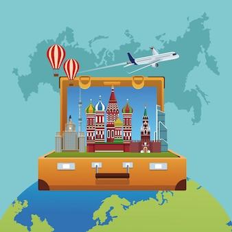 Russia travel poster vector illustration graphic design