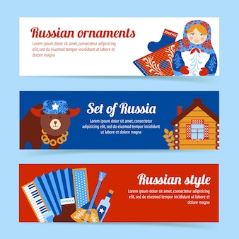 Russia travel style and ornaments banner set isolated vector illustration
