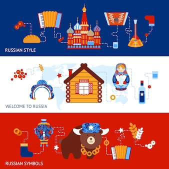 Russia travel style symbols banner set with traditional national elements icons set vector illustration