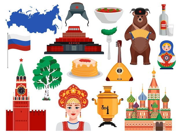 Russia travel symbols traditions landmarks flat set with pancakes kremlin vodka bear borscht birch tree