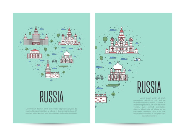 Russia travel tour flyer set in linear style