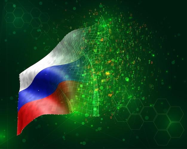 Россия, вектор 3d флаг на зеленом фоне с многоугольниками и номерами данных