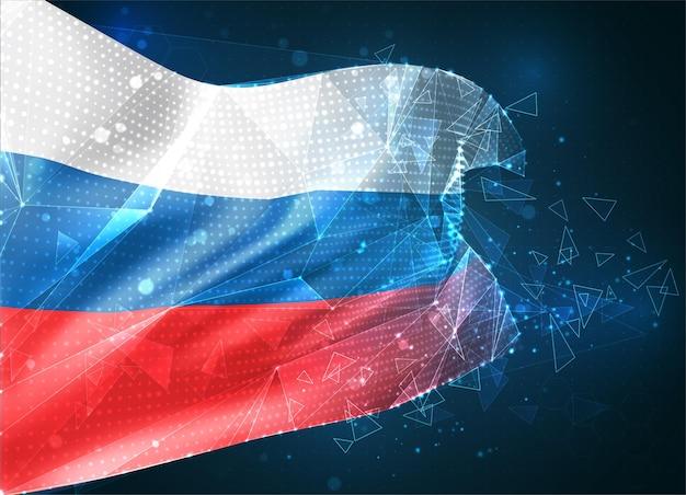 Россия, векторный флаг, виртуальный абстрактный 3d-объект из треугольных многоугольников на синем фоне