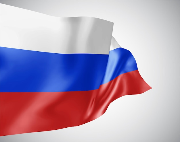 러시아, 파도가 있는 벡터 깃발과 흰색 배경에 바람에 물결치는 굽힘.