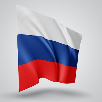 Россия, векторный флаг с волнами и изгибами, развевающимися на ветру на белом фоне.
