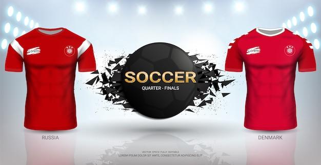 Russia vs denmark soccer jersey template.