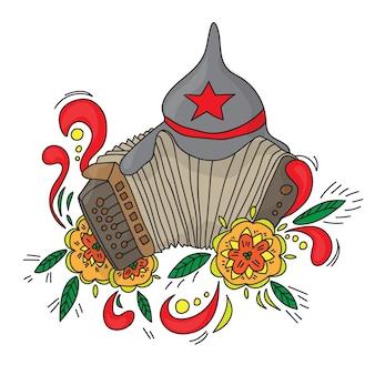 Русский аккордеон баян, изолированные на белом фоне