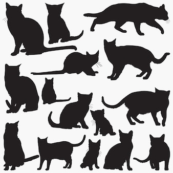 Russian blue cat silhouettes