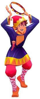 Русский скоморох танцует и бьет в бубен. винтажный клоун в лаптях. векторные иллюстрации шаржа, изолированные на белом фоне