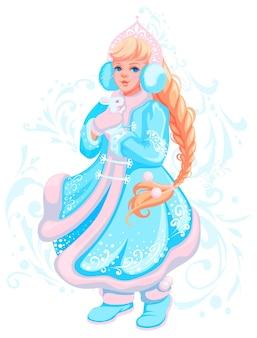 Русское рождество и новогодняя открытка добрая милая девочка снегурочка