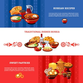 러시아 요리 플래그 색 배너 세트