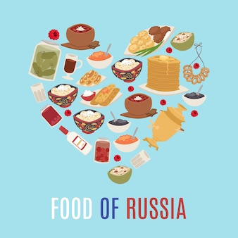 Russian cuisine and national food of russia in heart shape form illustration with caviar, pancakes, borsch soup and vodka.