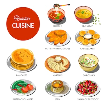Russian cuisine traditional food dishes set