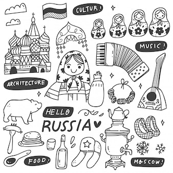 Russian culture doodles set