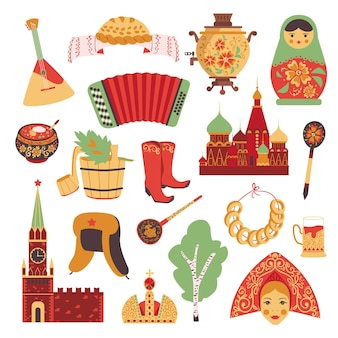 Russian culture icons set.